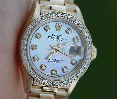 ROLEX LADIES PRESIDENT 18K YELLOW GOLD 69178 DIAMOND MOTHER OF PEARL DIAL BEZEL