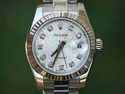 ROLEX LADIES 26mm DATEJUST STAINLESS STEEL FACTORY JUBILEE DIAMOND SILVER 179174