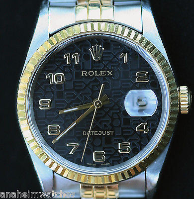 ROLEX DATEJUST TWO TONE 18K GOLD STAINLESS STEEL 36mm MODEL 16233 WATCH