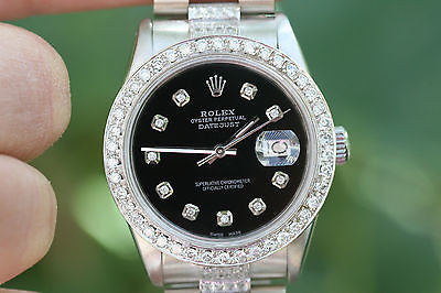 ROLEX STAINLESS STEEL DATEJUST 18K WHITE GOLD PRESIDENT BAND DIAMOND BEZEL DIAL