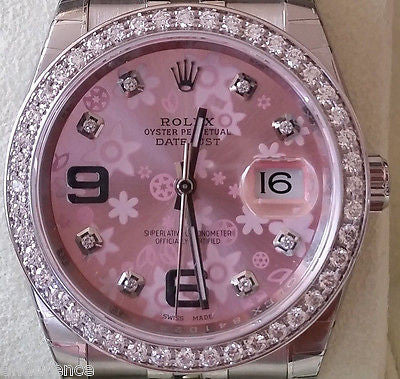 ROLEX NEW DATEJUST STEEL PINK FLORAL DIAL DIAMONDS BEZEL BOX TAG CERTCARD 116200