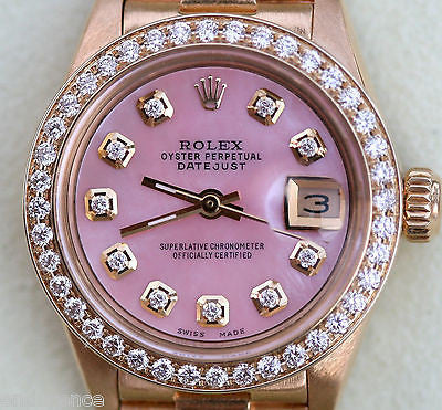 ROLEX LADIES DATEJUST 18K PRESIDENT BRACELET MOTHER OF PEARL PINK DIAMONDS 6917