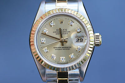ROLEX LADIES DATEJUST 69163 2TONE DIAMOND DIAL 26mm 18K YELLOW GOLD