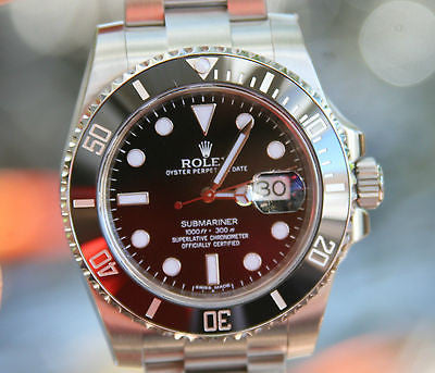 ROLEX MENS STAINLESS STEEL SUBMARINER BLACK CERAMIC 116610
