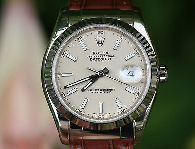 ROLEX MENS LADIES DATEJUST 18K WHITE GOLD 116139 LEATHER BAND DEPLOYMENT