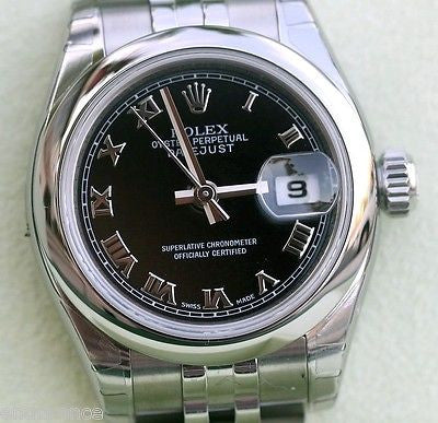 ROLEX DATEJUST LADIES 179160 STAINLESS STEEL JUBILEE BAND WITH BLACK ROMAN DIAL