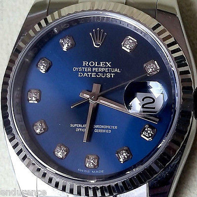 ROLEX DATEJUST STEEL MODEL 116234 BLUE DIAMOND DIAL 18K WHITE GOLD BEZEL