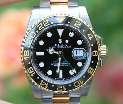 ROLEX MENS 40mm GMT II 18K GOLD & STEEL CERAMIC 116713 BOX CARD RANDOM
