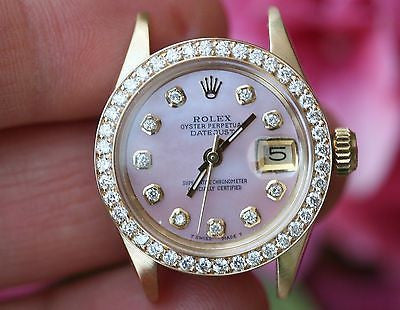 ROLEX LADIES 18K YELLOW GOLD PRESIDENT HEAD PINK DIAMOND BEZEL 18K 6901