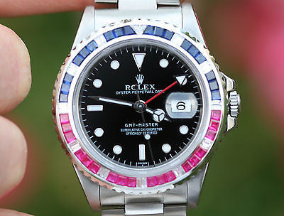 ROLEX WATCH MENS 40mm STAINLESS STEEL GMT MASTER PEPSI DIAMOND SAPPHIRE BEZEL