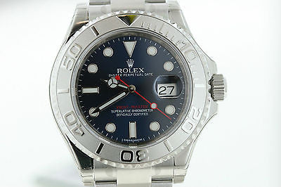 ROLEX NEW UNWORN MENS YACHTMASTER PLATINUM STAINLESS BLUE 116622