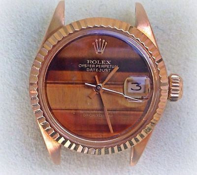 ROLEX LADIES 6917 PRESIDENT HEAD 18k YELLOW GOLD 26mm FACTORY RARE TIGER EYE DIA