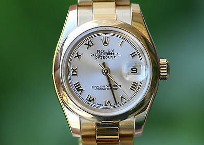 ROLEX LADIES 26mm PRESIDENT 18K YELLOW GOLD 179168 OYSTER BRACELET BAND