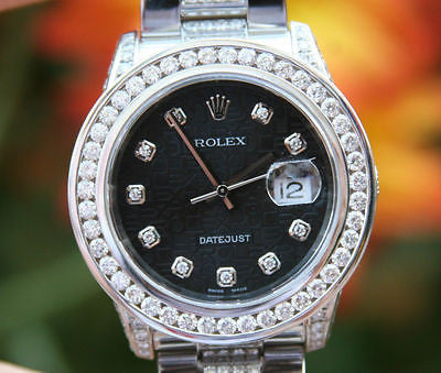 ROLEX MENS LADIES 36mm STAINLESS STEEL DATEJUST 18K WHITE GOLD DIAMOND DIAMONDS