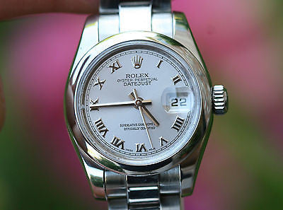 ROLEX LADIES DATEJUST 26mm STAINLESS STEEL SMOOTH BEZEL 170160 SILVER ROMAN DIAL