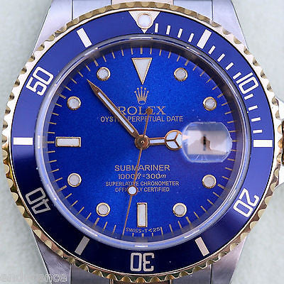 ROLEX SUBMARINER TWO TONE GOLD STAINLESS STEEL BLUE ON BLUE WATCH 16613