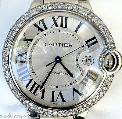 Cartier Stainless Steel 42mm Ballon Bleu with Custom Diamond Bezel