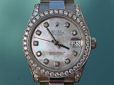 ROLEX WATCH MENS LADIES MIDSIZE 31mm DATEJUST 178240 STAINLESS STEEL DIAMOND