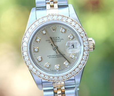 Rolex 69173 Datejust 26mm Ladies 18K Gold Steel Diamond Dial Bezel Jubilee Band
