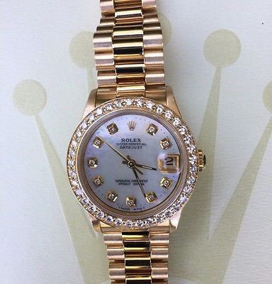 ROLEX MIDSIZE LADIES 31mm 18k YELLOW GOLD PRESIDENT 68278 DIAMOND BEZEL DIAL MoP