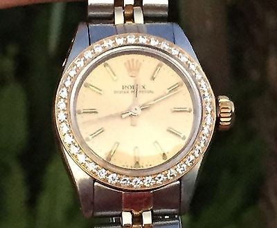 ROLEX WATCH LADIES 26mm 6917 GOLD DIAL DIAMOND BEZEL Oyster Perpetual