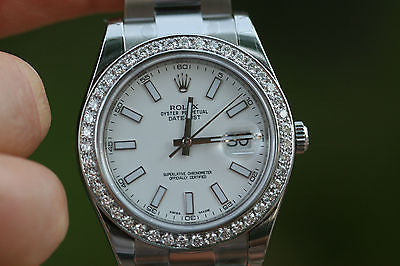 ROLEX MENS DATEJUST II STAINLESS 116300 41mm 1.7ct DIAMOND BEZEL UNWORN