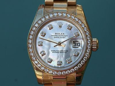 ROLEX LADIES 26mm PRESIDENT 18K YELLOW GOLD 179138 FACTORY DIAMOND DIAL BEZEL