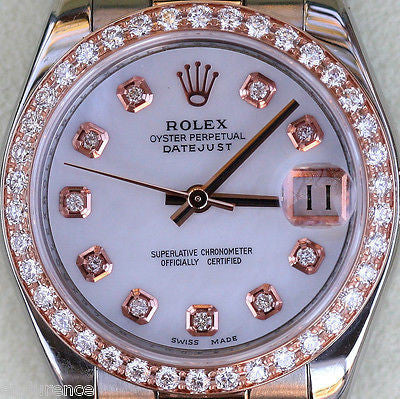 ROLEX DATEJUST LADIES MIDSIZE TWO TONE 18K ROSE GOLD DIAMOND MOTHER-OF-PEARL