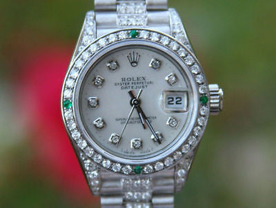 ROLEX LADIES 18K WHITE GOLD PRESIDENT DIAMOND BAND DIAMOND EMERALD BEZEL DIAL