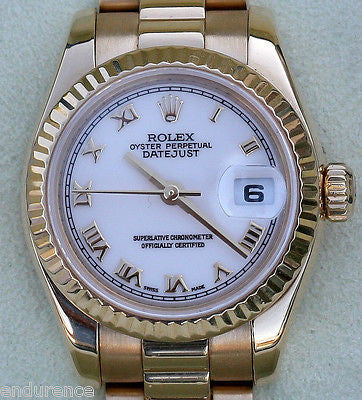 ROLEX PRESIDENT LADIES 18K GOLD MODEL 179178 WHITE DIAL GOLD ROMAN NUMERALS