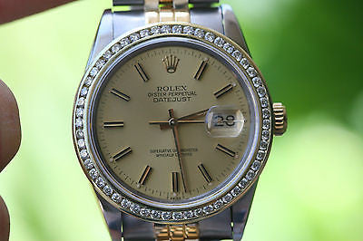 ROLEX 2TONE MENS 36mm DATEJUST 18K YELLOW GOLD STEEL DIAMOND BEZEL 16201 16233