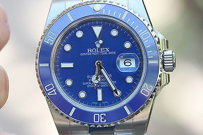 Rolex stainless steel Submariner w/ custom Blue dial & bezel to look like white