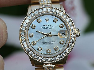 ROLEX MIDSIZE PRESIDENT 18K YELLOW GOLD VINTAGE DIAMOND BEZEL PEARL DIAL BAND