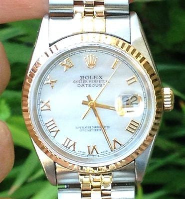 ROLEX MENS 36mm DATEJUST 2tone 18k Stainless Steel 16233  SERVICED WARRANTY