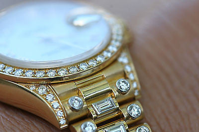 ROLEX LADIES PRESIDENT CROWN COLLECTION 26mm MODEL 79238 FACTORY DIAMONDS BAND