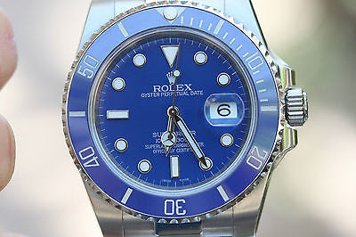 ROLEX SUBMARINER 116610 STAINLESS BLUE CERAMIC BEZEL FOR 18K WHITE GOLD 116619