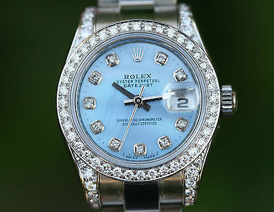 ROLEX LADIES 26mm DATEJUST BLUE DIAMOND DIAL LUGS BEZEL 179160 UNWORN BOX PAPERS