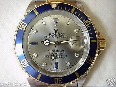 ROLEX SUBMARINER WATCH MENS LADIES 2TONE SLATE SERTI DIAMOND AND SAPPHIRE DIAL