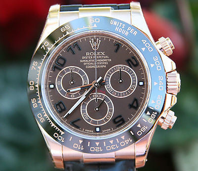 ROLEX MENS DAYTONA 18K ROSE GOLD CHOCOLATE DIAL CERAMIC BEZEL 116515 UNWORN