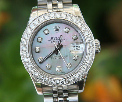 ROLEX LADIES 26mm DATEJUST 18K WHITE GOLD DIAMOND BEZEL BLACK MOP 179160 PERFECT