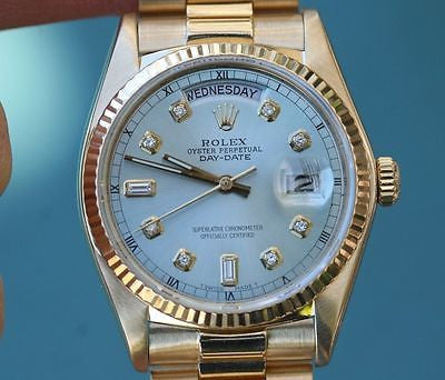 ROLEX MENS PRESIDENT 18K YELLOW GOLD 18038 SAPPHIRE QUICK SET BLUE DIAMOND DIAL