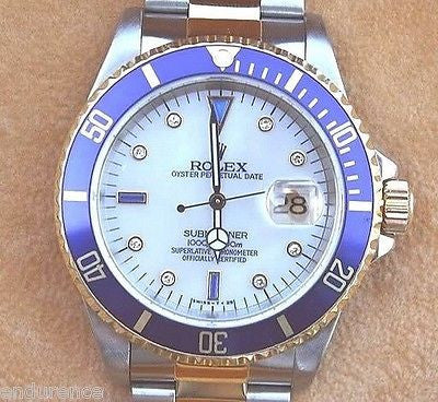ROLEX SUBMARINER MENS WATCH TWO TONE MOP SERTI DIAMOND SAPPHIRE DIAL MODEL 16613