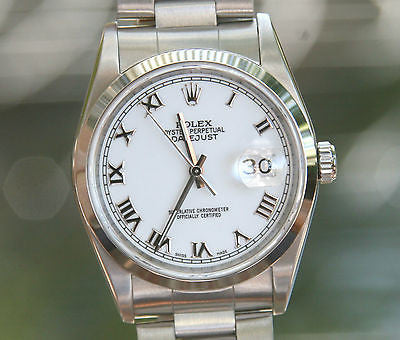 ROLEX MENS LADIES DATEJUST STAINLESS STEEL 36mm 16200 RAISED ROMAN MINT