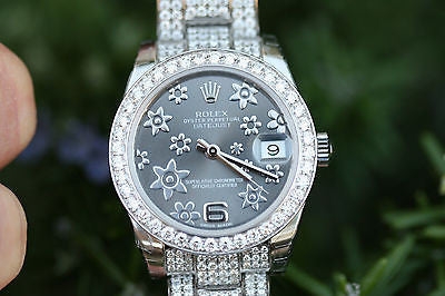 ROLEX 178240 MIDSIZE 31mm DATEJUST FLORAL DIAMOND DIAL BAND BEZEL for 178384