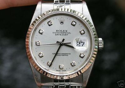 ROLEX MENS DATEJUST SILVER DIAMOND DIAL 16234 BOX