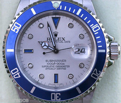 ROLEX SUBMARINER 16610 MENS WATCH DIAMOND AND SAPPHIRE DIAL WITH BLUE BEZEL