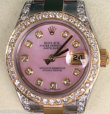 ROLEX LADIES DATEJUST TWO TONE MOTHER OF PEARL PINK DIAMONDS DIAL BEZEL 179173