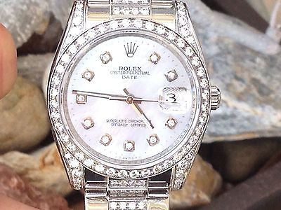 ROLEX 34mm DATE STAINLESS STEEL DIAMOND OYSTER BAND YEAR 2008 UNWORN