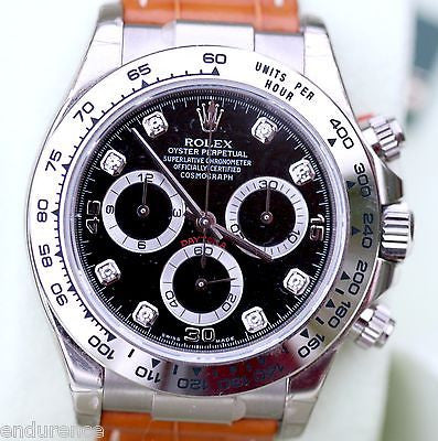 ROLEX DAYTONA 18k WHITE GOLD BLACK DIAMOND DIAL TAN LEATHER STRAP 116519 WATCH