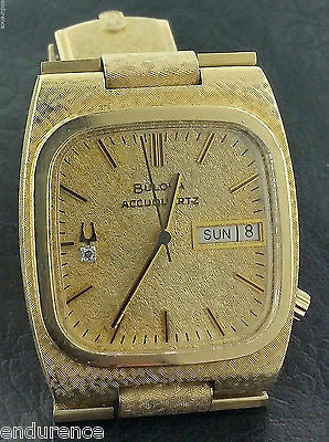BULOVA RARE ACCUQUARTZ 1974 VINTAGE DAY-DATE PRESIDENT 224 SERIES 14K GOLD WATCH